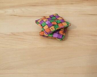 Hot or Cold pack set of 2 - handwarmer - reusable microwavable rice bag - gift idea - pocket warmer - boo boo bag - green orange purple