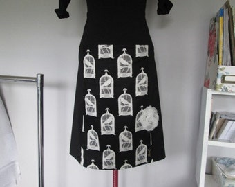 Womens Black & White Skirt with Bird Cages