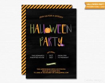 Colorful Halloween Invitation Halloween Party Invite Printable Chalkboard Kids Halloween Kids Invitation Digital Costume Party Pumpkin Party