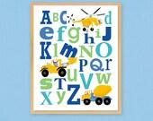 Kids Alphabet Art Wooden Plaque Construction Art Boys Bedroom Playroom Nursery Wall Decor Keepsake Gift For Child Home Decor Blue And Green