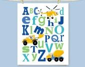 Construction Alphabet Art Print Boy's Bedroom Playroom Nursery Wall Decor Keepsake Gift For Young Children Home Decor