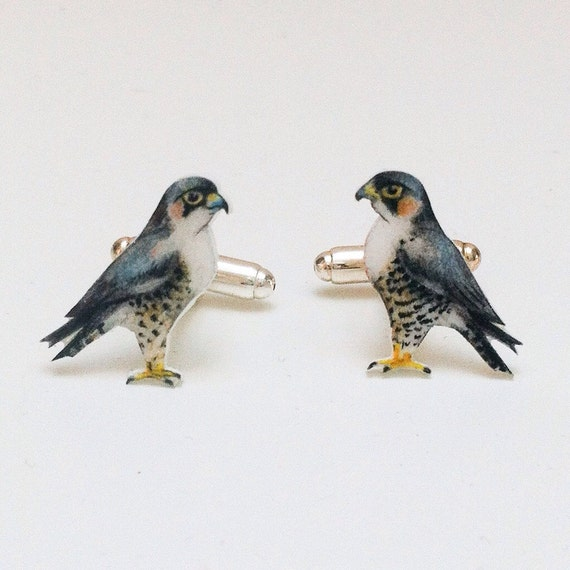 Peregrine Falcon cuff links. Bird Cuff links. Hand drawn cuff links. Mens accessories