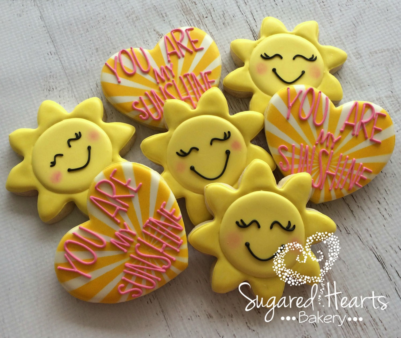 You Are My Sunshine Sun And Heart Cookies 1 Dozen