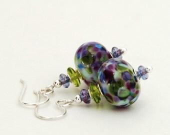 Purple and Green Lampwork Earrings - Lampwork Glass Earrings with Sterling Silver Earwires - Handmade Jewelry