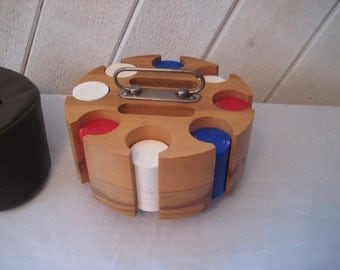 Vintage poker chips carousel, rotating wood caddy, vintage card games, Plawood Mormac Corp, made in USA
