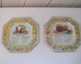 Avon recipe trays, wall hanging tin trays, plum pudding, blueberry orange nut bread, Pair of recipe trays