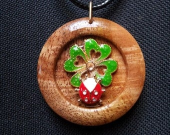 Ladybug and Clover in reclaimed Mango Wood