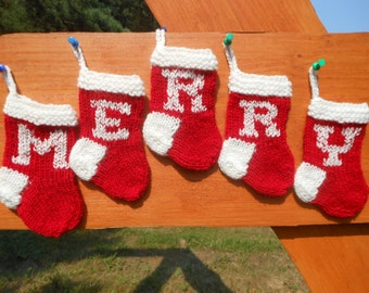 MERRY Mini Christmas Stockings Hand Knitted Set of 5 Christmas Gift Christmas Decoration Stocking Ornament