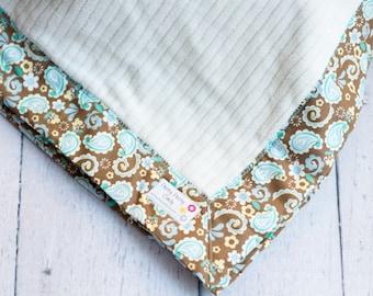 Brown Paisley Cream Fleece Cotton Baby Blanket