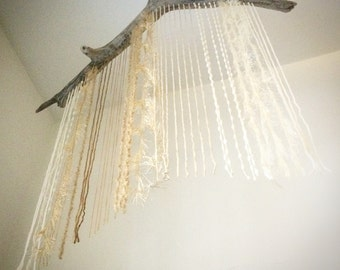 Driftwood and Textured Yarn Mobile