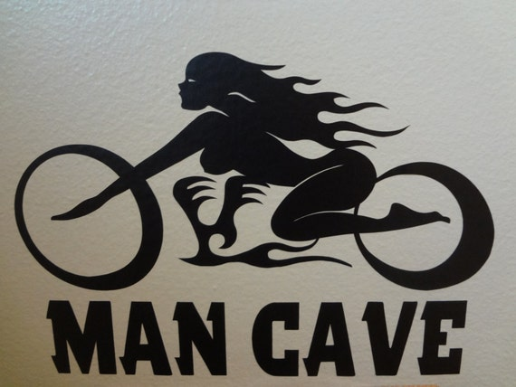 Items similar to man cave motorcycle decal wall art decals mens gift room decor garage shed man - Man caves chick sheds mutual needs ...