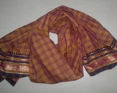 Small Scarf Vintage Scarf Indian Sari Scarf Checks Brown Scarf Upcycled VSF1