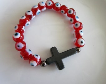 Red and white evil eye charm black side cross bracelet, evil eye jewelry, evil eye charm, red evil eye beads, side cross evil eye bracelet