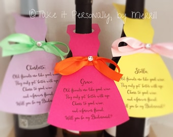 Will you be my bridesmaid wine bottle hang tag wine bottle tag wedding cards personalized and printed