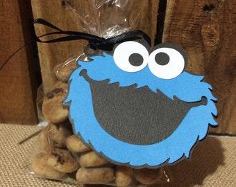 Sesame Street Cookie Monster Tags - Set of 12