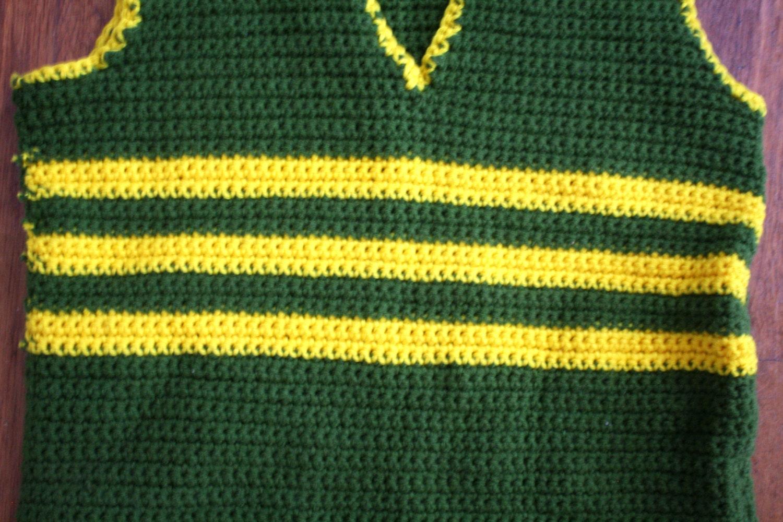 Handmade Green And Yellow Vest. Retro Weirdo Sleeveless Fashion ...