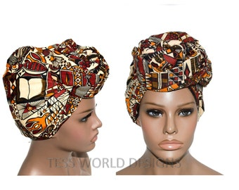 Religious African Print head wraps/ African Headwraps / Fabric from Africa/ African hair accessory/ African Head scarf/ HT144