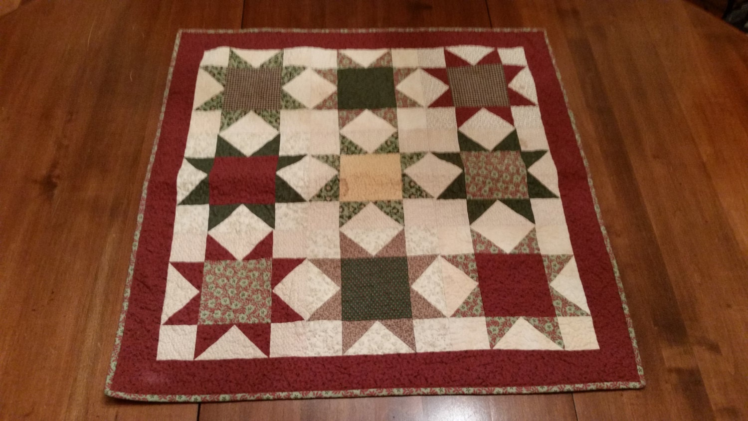 VINTAGE OHIO STAR Quilt 26 Inch Square Warm Colors Tea Dyed