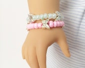 "American Girl 18"" Doll Cinderella Collection Mint or Pink Butterfly Bracelet"