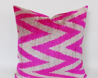 Velvet İkat Pillow, Zig Zag Decorative Velvet Silk Pillow, Pink Velvet Pillow,Natural Velvet Pillow Cover,Chevron Velvet Pillow