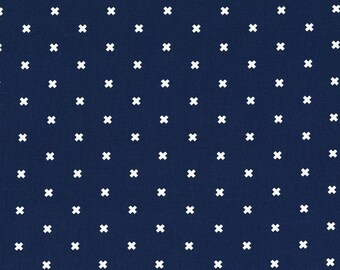 Navy Quilt Fabric Cotton + Steel Basics XOXO in Night Owl - Cotton - Navy and White Fabric - Dark Blue and White Fabric Geometric Fabric