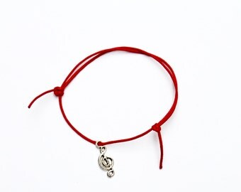 silver music note charm on waxed cotton cord adjustable friendship bracelet