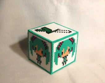 Pixel Vocaloid 8 Bit Hatsune Miku Perler Bead Bank Box