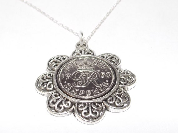 Fancy Pendant 1948 Lucky sixpence 70th Birthday plus a Sterling Silver 18in Chain m0rCy
