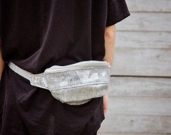 Gray and Navy Stripes PVC Hip Bag with a Zip/  Fanny Pack/  Bum Bag / Running belt bag / Handmade  Fanny Pack/ Handmade running belt bag