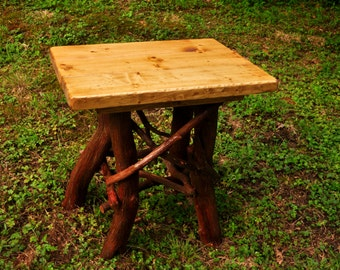 Rustic Wood Handmade End Side Table Log Cabin Furniture by J. Wade FREE SHIPPING golden