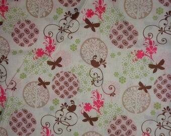Cream Flower/Tree/Bird Cotton Fabric by the Yard