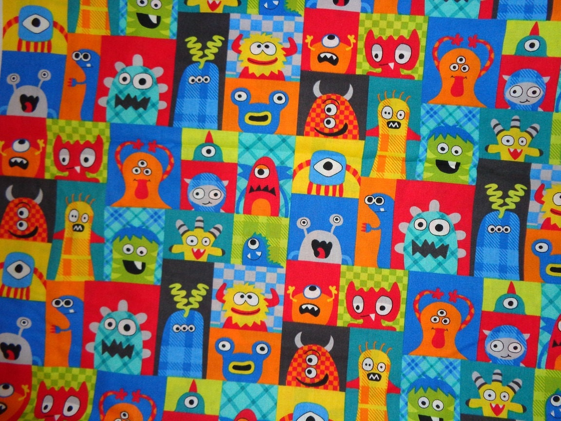 multicolor blocked monster cotton fabric by the yard by