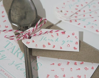 Set of 5 - Mini Baby shower 'Thank You' Letterpress Swing Tags