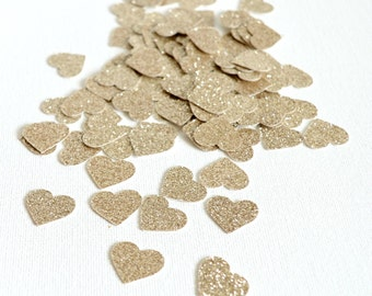 Champagne Glitter Hearts - Glitter Confetti Hearts - Wedding Decor - Mini Hearts Table Scatter - Shower - Anniversary Party Confetti 100 Pc