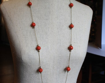 Vintage Mod Orange Wood Bead Necklace