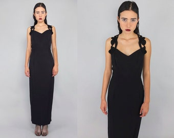 Vtg 90s Black Filigree Cage  Cutout Avant Garde Maxi Dress M