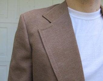 1970s mens polyester light brown blazer, taupe blazer, tacky blazer, 36R