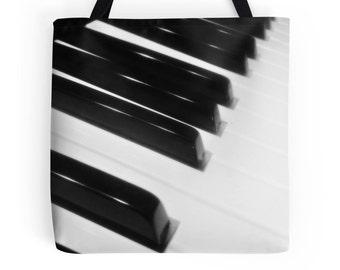 Piano Bag, Music Bag, Piano Tote, Piano Print, Instrument Print, Piano Photo, Piano Keys, Music Print