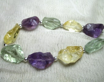 Chunky 9 Pc 167 Ct  Stunning Faceted Amethyst Citrine Green Amethyst  Beads M66