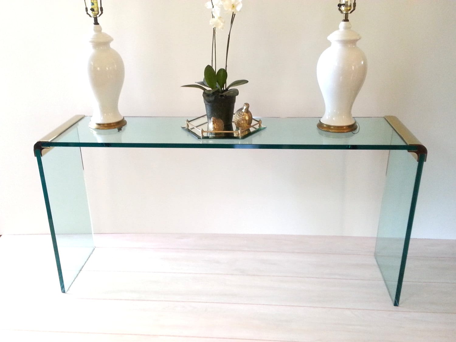 Glass table sofa console waterfall table by leon rosen - Table haute console ...