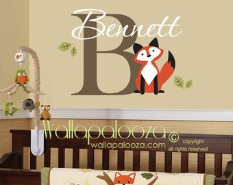 Fox wall decal - fox wall art - fox nursery wall decal - custom fox decal - custom name wall decal - Nursery wall decal - Nursery wall art