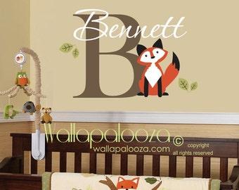 Fox wall decal - fox wall art - fox nursery wall decal - custom fox decal - custom name wall decal