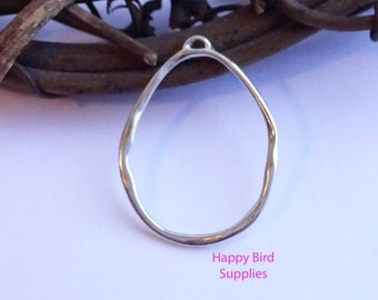 Sterling Silver Organic Circle Pendant -- 1 Piece -- Abstract Component