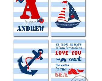 Nautical Nursery Art, Peronalized Nautical Nursery Decor ,Sailboat Baby Boy Nursery Room Decor - Set of four Prints - anchor, sailboat ,Love