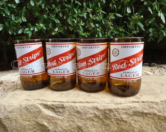 Red Stripe Beer Bottle Glasses  Set of 4