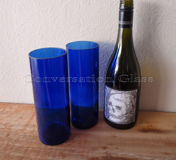 Upcycled Skyy Vodka Bottle Tumblers Drinking Glasses Tall Cobalt Blue Set of 2