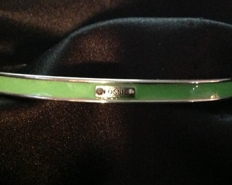 Fossil Green Enamel Bangle Bracelet