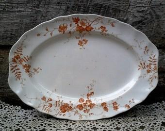 "Antique Ironstone Platter, Brown Floral Platter ""Kirkstone"" Doulton Burslem, England, Home Decor, Kitchen, Display"