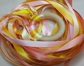 Dragon Dance Rhythm Ring // Wooden Dancing Ring // Orange and Yellows  // Waldorf Hand Kite // Natural Gift  // Party Favor // Vegan