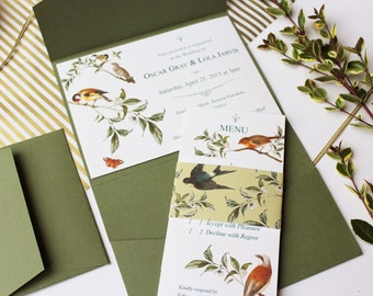 Garden Birds Pocketfold Green Wedding Invitation Suite, Set of 5 Inserts: Invite, RSVP, Menu, Details and belly band